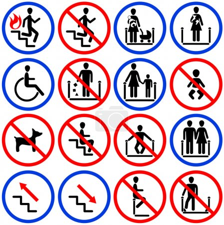 Icons for escalators and stairs in the shop...
