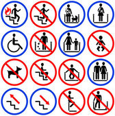 Icons for escalators and stairs in the s