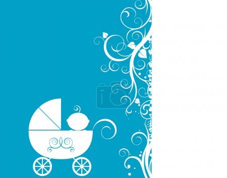 Baby arrival design, baby boy in his little carria...