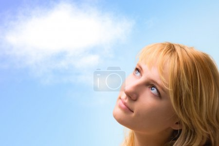 Beautiful girl thinks about...