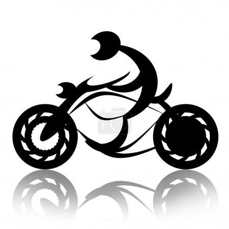 Photo pour Biker balades moto silhouette décorative abstraite illustration sur fond blanc - image libre de droit