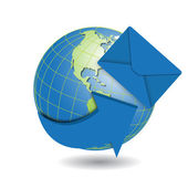 Globe and blue envelope