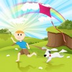 Illustration, boy runs on herb with dog...