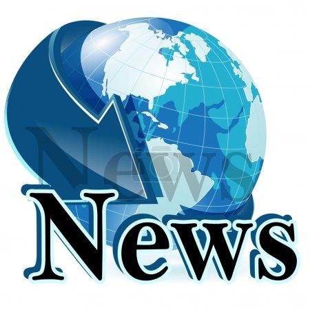 Illustration pour Illustration, globe avec la flèche bleue et inscription aux nouvelles - image libre de droit
