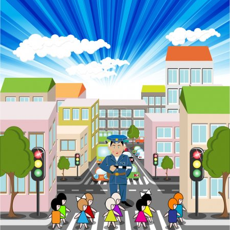 Illustration for Illustration, town street and children on pedestrian crossing - Royalty Free Image