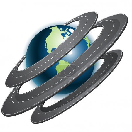 Photo for Abstract illustration, ring of the roads around globe - Royalty Free Image