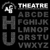 THEATRE Word collage on black background Illustration with different association terms