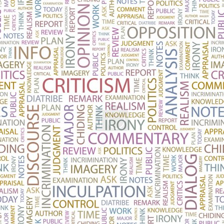 CRITICISM. Seamless vector pattern with word cloud.
