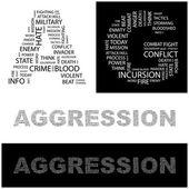 Agrese. slovo koláž na bílém pozadí. vektorové ilustrace