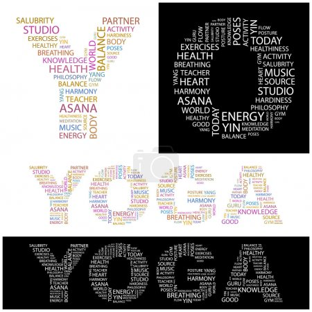 YOGA. Vector letter collection.