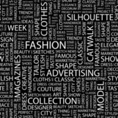 FASHION Seamless vector pattern with word cloud