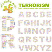 TERRORISM Vector letter collection Illustration with different association terms