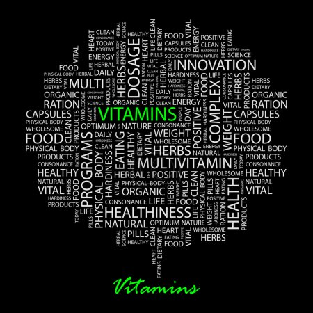VITAMINS. Seamless vector pattern with word cloud.
