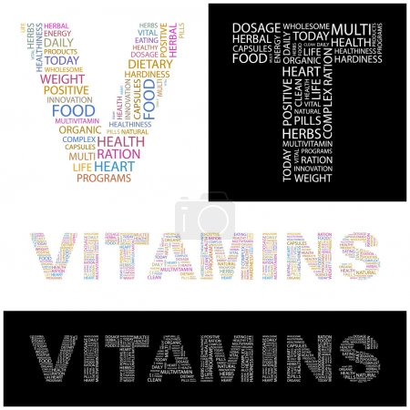 VITAMINS. letter collection. Illustration with different association terms.
