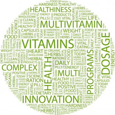 VITAMINS. Word collage