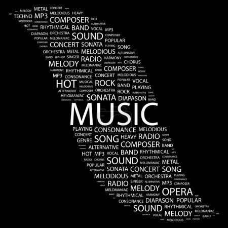 MUSIC. Word collage on black background