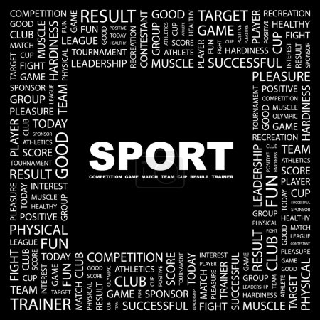 SPORT. Word collage on black background