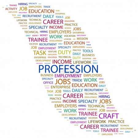 PROFESSION. Word collage on white background