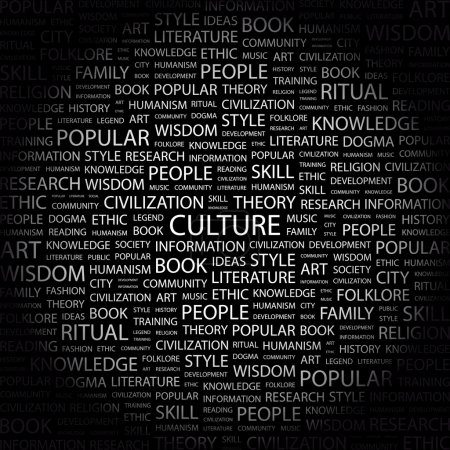 CULTURE. Word collage on black background