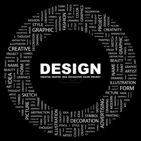 DESIGN. Word collage on black background