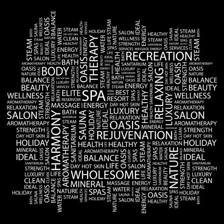 SPA. Word collage on black background