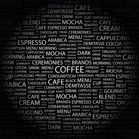 COFFEE. Word collage on black background
