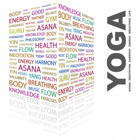 YOGA. Word collage on white background
