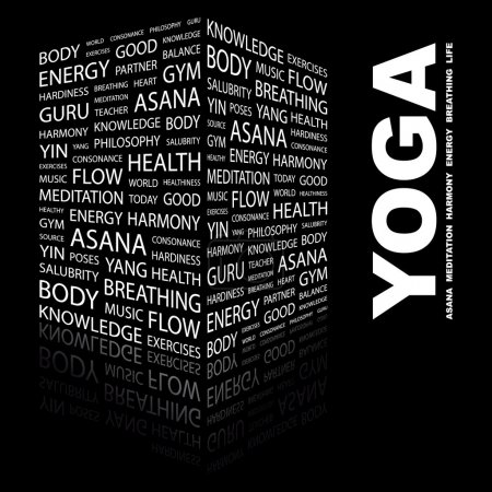 YOGA. Word collage on black background