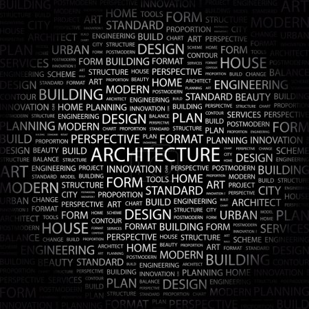 ARCHITECTURE. Word collage on black background