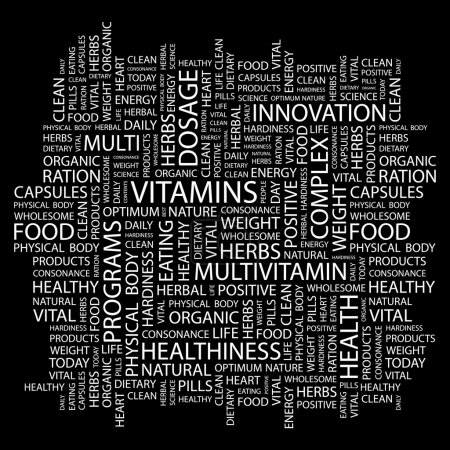 VITAMINS. Word collage on black background