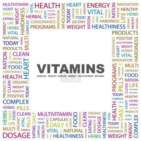 VITAMINS. Word collage on white background
