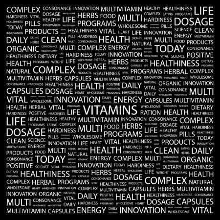 VITAMINS. Word collage on black background