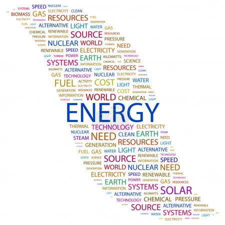 ENERGY. Word collage on white background