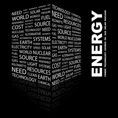 ENERGY. Word collage on black background