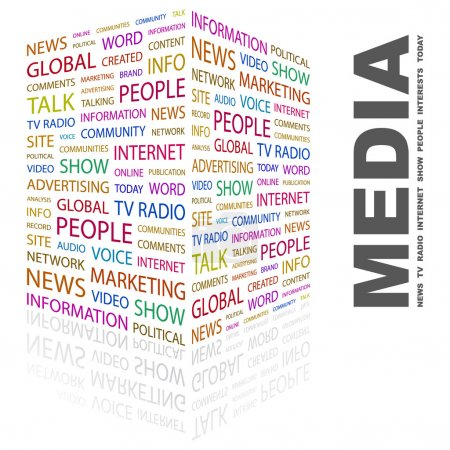 MEDIA. Word collage on white background