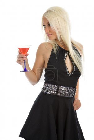 Attractive girl with wineglass in hand
