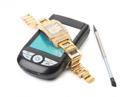 Smartphone and gold watch.
