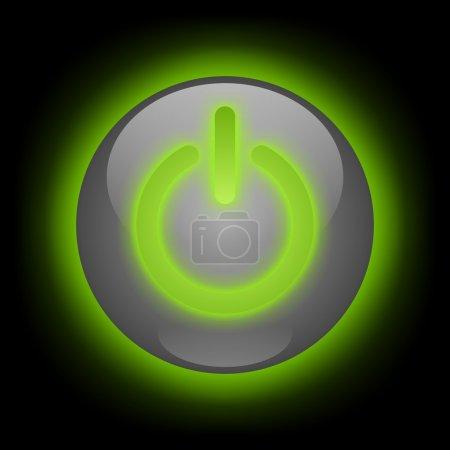 Photo pour Bouton d'alimentation avec lueur verte sur fond noir - image libre de droit