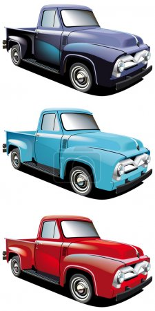 Illustration for Vectorial icon set of American retro pickups, executed in three colour versions and isolated on white backgrounds. Every pickup is in separate layers. File con - Royalty Free Image
