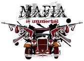 Grotesque vectorial vignette on theme of mafia with inscription