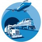 Vectorial round vignette on theme of cargo transpo...