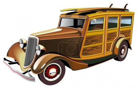 Illustration for Vectorial image of old-fashioned yellow hot rod with wooden carcass and two surfboards on roof, isolated on white background. Contains gradients and blends. - Royalty Free Image