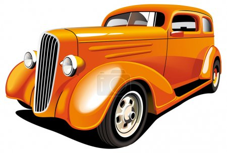 Illustration for Vectorial image of old-fashioned orange hot rod, isolated on white background. Contains gradients and blends. - Royalty Free Image