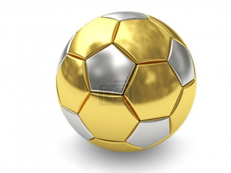 Photo for Gold soccer ball on white background rendered with soft shadows. High resolution 3D image - Royalty Free Image