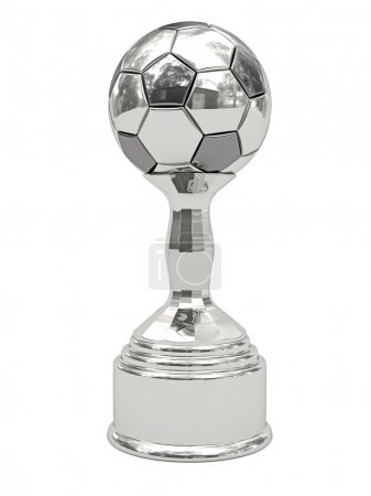 Silver soccer ball trophy on pedestal
