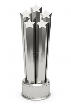 Silver stars prize on pedestal isolated