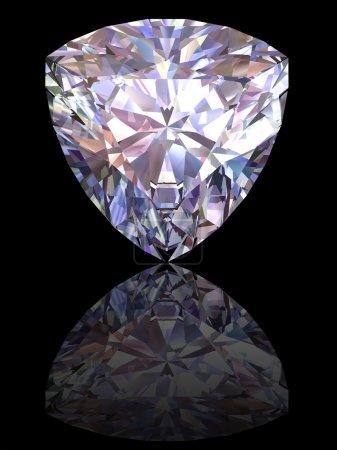 Diamond on glossy black background