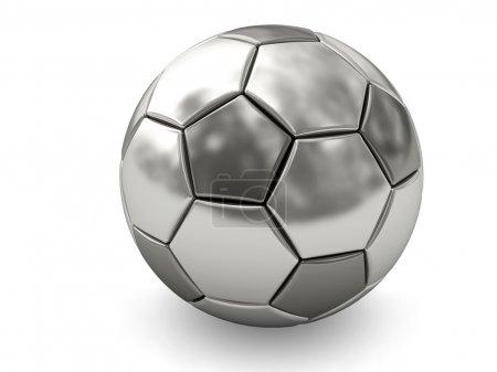 Photo pour Ballon de soccer en argent ou platine sur fond blanc, rendu avec ombres douces. image 3d en haute résolution - image libre de droit