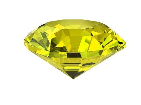 Yellow diamond isolated on white
