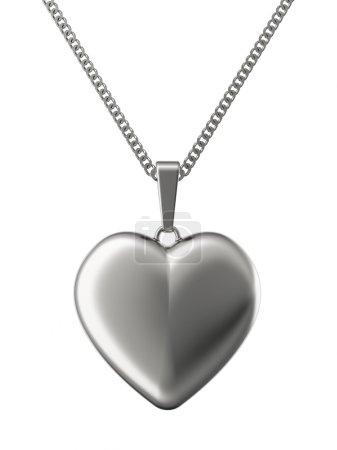 Photo pour Pendentif en argent en forme de coeur sur chaîne isolé sur blanc. image 3d en haute résolution - image libre de droit